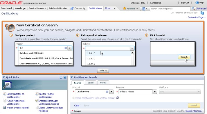 New Certify interface on My Oracle Support – Upgrade your Database